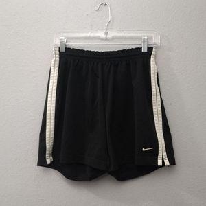 Nike Large (12-14) Black White Striped Shorts FLAW
